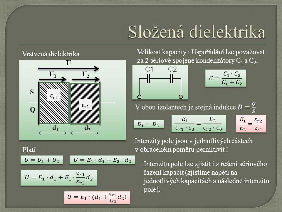 U d1d1 S ε r1 ε r2 d2d2 U1U1 U2U2 Vrstvená dielektrika Velikost kapacity : Uspořádání lze považovat za 2 sériově spojené kondenzátory C 1 a C 2. Inten