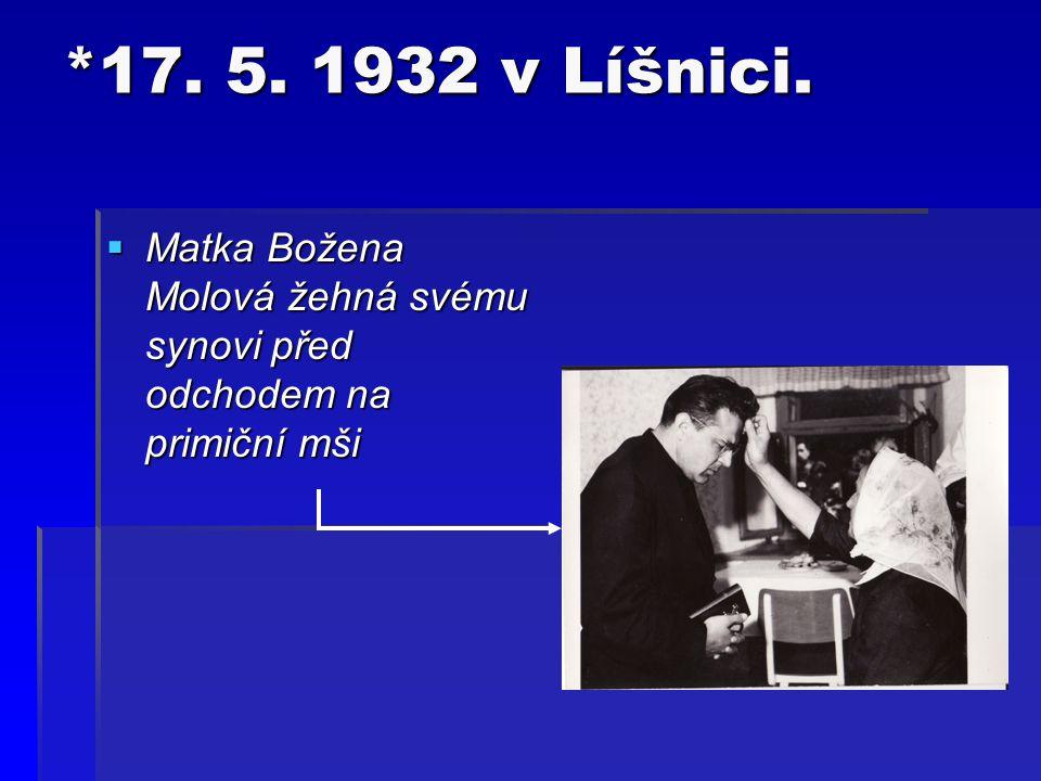  V šesti letech se spolu se svojí matkou Boženou Vlkovou odstěhoval do Zaluží, kde se Božena provdala za Václava Mola, s nímž vychovala ještě tři dcery – Marii, Anežku a Růženu.