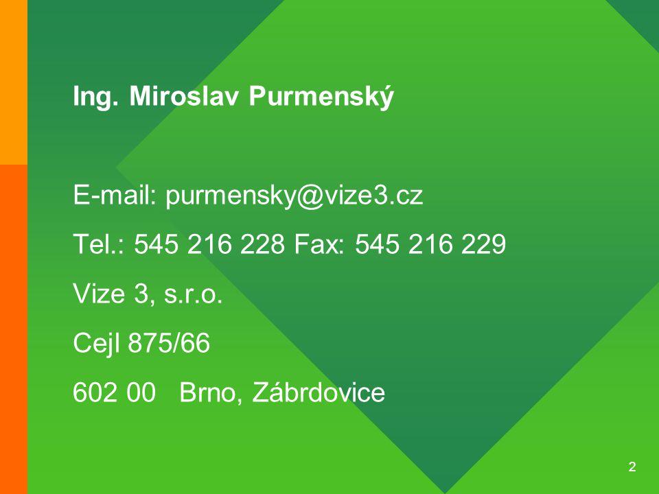 2 Ing. Miroslav Purmenský E-mail: purmensky@vize3.cz Tel.: 545 216 228 Fax: 545 216 229 Vize 3, s.r.o. Cejl 875/66 602 00 Brno, Zábrdovice
