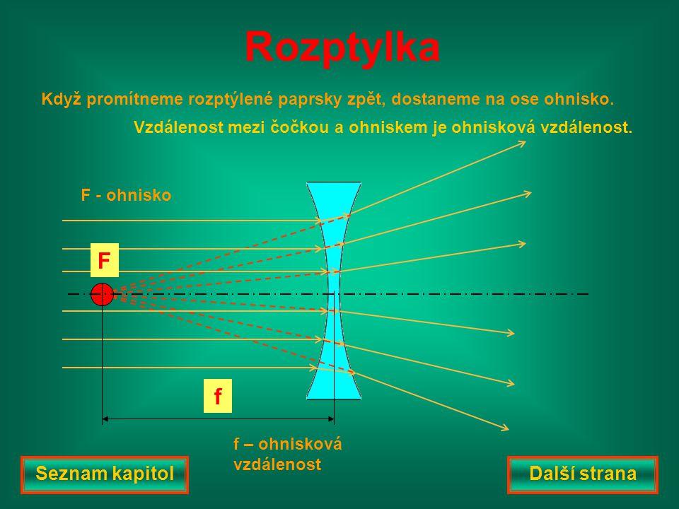 F f F - ohnisko f – ohnisková vzdálenost Když promítneme rozptýlené paprsky zpět, dostaneme na ose ohnisko. Rozptylka Vzdálenost mezi čočkou a ohniske