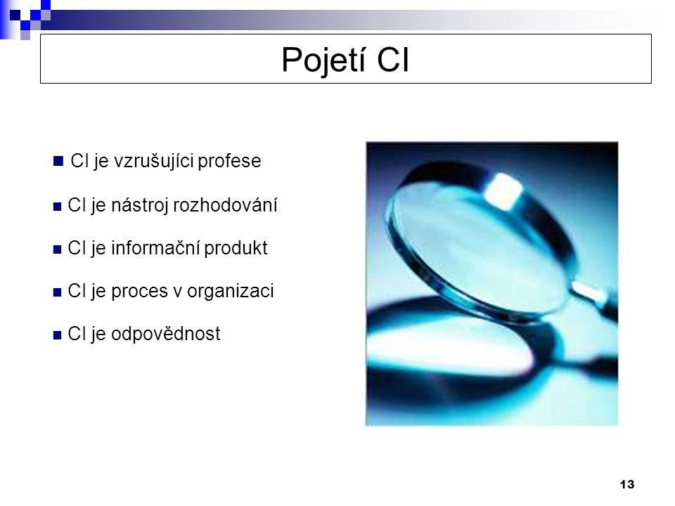 13  CI je vzrušujíci profese  CI je nástroj rozhodování  CI je informační produkt  CI je proces v organizaci  CI je odpovědnost Pojetí CI