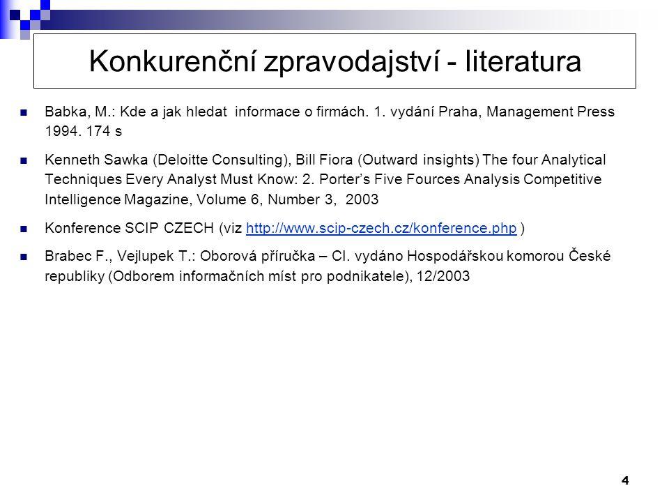4  Babka, M.: Kde a jak hledat informace o firmách. 1. vydání Praha, Management Press 1994. 174 s  Kenneth Sawka (Deloitte Consulting), Bill Fiora (