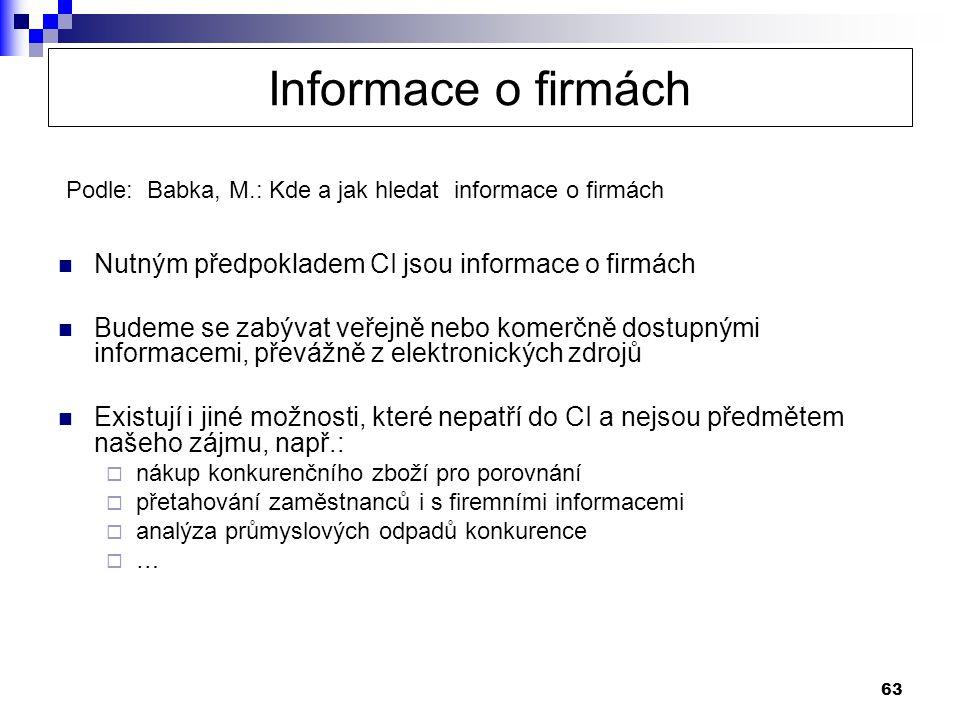63 Informace o firmách  Nutným předpokladem CI jsou informace o firmách  Budeme se zabývat veřejně nebo komerčně dostupnými informacemi, převážně z