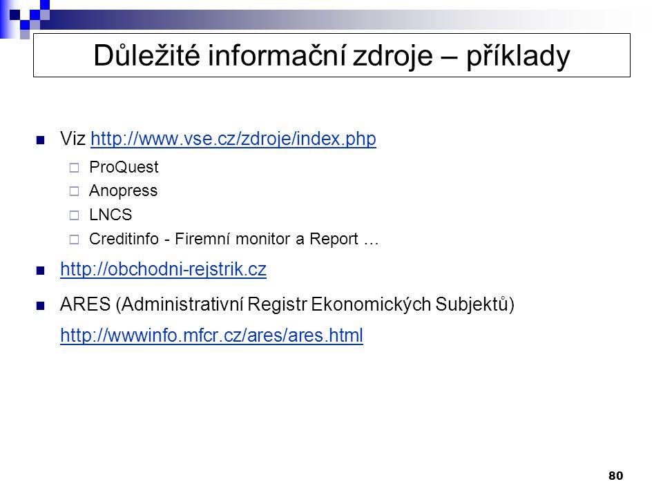 80  Viz http://www.vse.cz/zdroje/index.phphttp://www.vse.cz/zdroje/index.php  ProQuest  Anopress  LNCS  Creditinfo - Firemní monitor a Report …  http://obchodni-rejstrik.cz http://obchodni-rejstrik.cz  ARES (Administrativní Registr Ekonomických Subjektů) http://wwwinfo.mfcr.cz/ares/ares.html http://wwwinfo.mfcr.cz/ares/ares.html Důležité informační zdroje – příklady