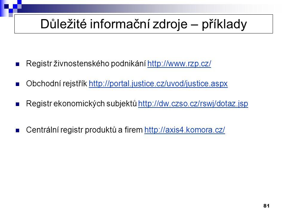 81  Registr živnostenského podnikání http://www.rzp.cz/http://www.rzp.cz/  Obchodní rejstřík http://portal.justice.cz/uvod/justice.aspxhttp://portal.justice.cz/uvod/justice.aspx  Registr ekonomických subjektů http://dw.czso.cz/rswj/dotaz.jsphttp://dw.czso.cz/rswj/dotaz.jsp  Centrální registr produktů a firem http://axis4.komora.cz/http://axis4.komora.cz/ Důležité informační zdroje – příklady
