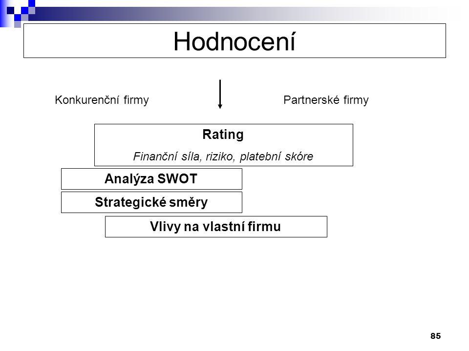 85 Konkurenční firmyPartnerské firmy Rating Finanční síla, riziko, platební skóre Analýza SWOT Strategické směry Vlivy na vlastní firmu Hodnocení