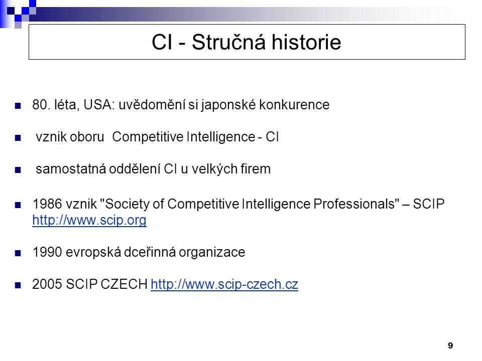 9 CI - Stručná historie  80. léta, USA: uvědomění si japonské konkurence  vznik oboru Competitive Intelligence - CI  samostatná oddělení CI u velký