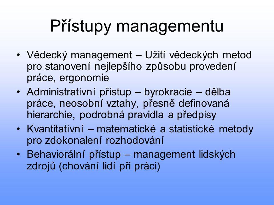 Přístupy managementu •Vědecký management – Užití vědeckých metod pro stanovení nejlepšího způsobu provedení práce, ergonomie •Administrativní přístup