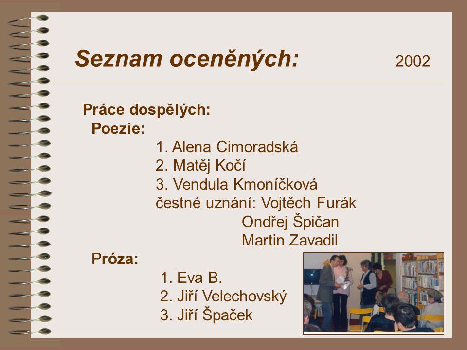 Seznam oceněných: 2002 Práce dospělých: Poezie: 1. Alena Cimoradská 2. Matěj Kočí 3. Vendula Kmoníčková čestné uznání: Vojtěch Furák Ondřej Špičan Mar
