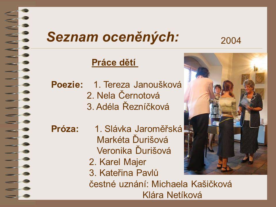 Seznam oceněných: 2004 Práce dětí Poezie: 1. Tereza Janoušková 2. Nela Černotová 3. Adéla Řezníčková Próza: 1. Slávka Jaroměřská Markéta Ďurišová Vero