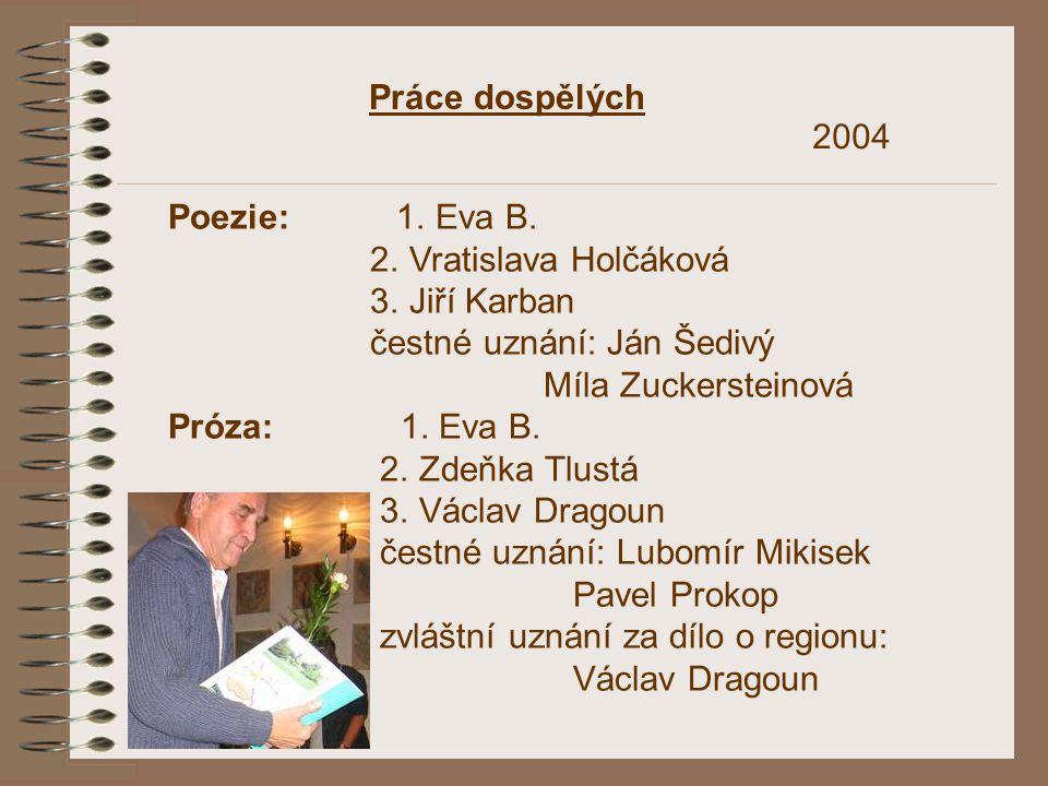 Práce dospělých Poezie: 1. Eva B. 2. Vratislava Holčáková 3. Jiří Karban čestné uznání: Ján Šedivý Míla Zuckersteinová Próza: 1. Eva B. 2. Zdeňka Tlus