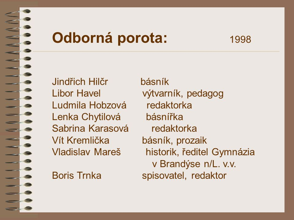 Odborná porota: 1998 Jindřich Hilčr básník Libor Havel výtvarník, pedagog Ludmila Hobzová redaktorka Lenka Chytilová básnířka Sabrina Karasová redakto