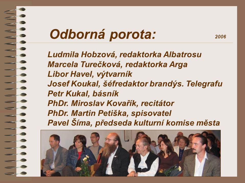 Odborná porota: Ludmila Hobzová, redaktorka Albatrosu Marcela Turečková, redaktorka Arga Libor Havel, výtvarník Josef Koukal, šéfredaktor brandýs. Tel