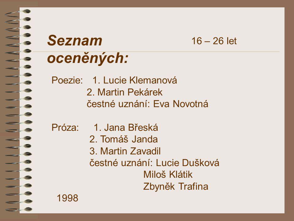 DOSPĚLÍ POEZIE 1.Ondřej Hanus 2. Eva B., Jan Przybyla 3.
