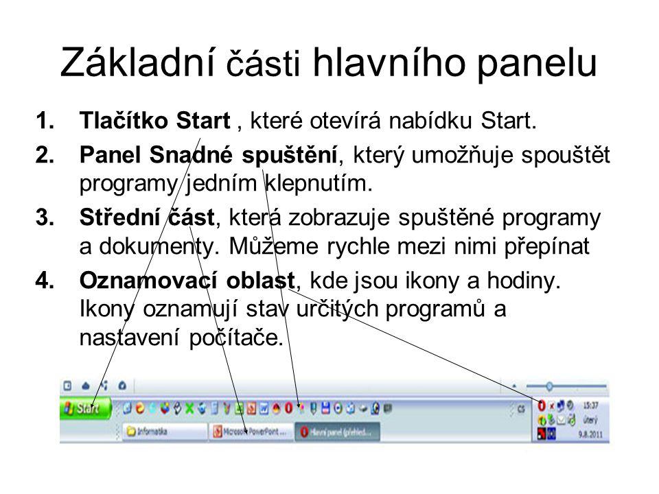 Základní části hlavního panelu 1.Tlačítko Start, které otevírá nabídku Start. 2.Panel Snadné spuštění, který umožňuje spouštět programy jedním klepnut