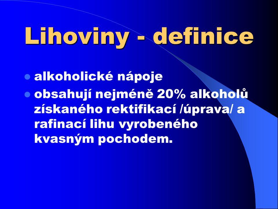 Lihoviny - definice  alkoholické nápoje  obsahují nejméně 20% alkoholů získaného rektifikací /úprava/ a rafinací lihu vyrobeného kvasným pochodem.