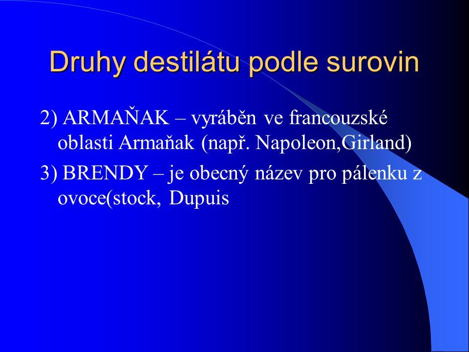 Druhy destilátu podle surovin 2) ARMAŇAK – vyráběn ve francouzské oblasti Armaňak (např. Napoleon,Girland) 3) BRENDY – je obecný název pro pálenku z o