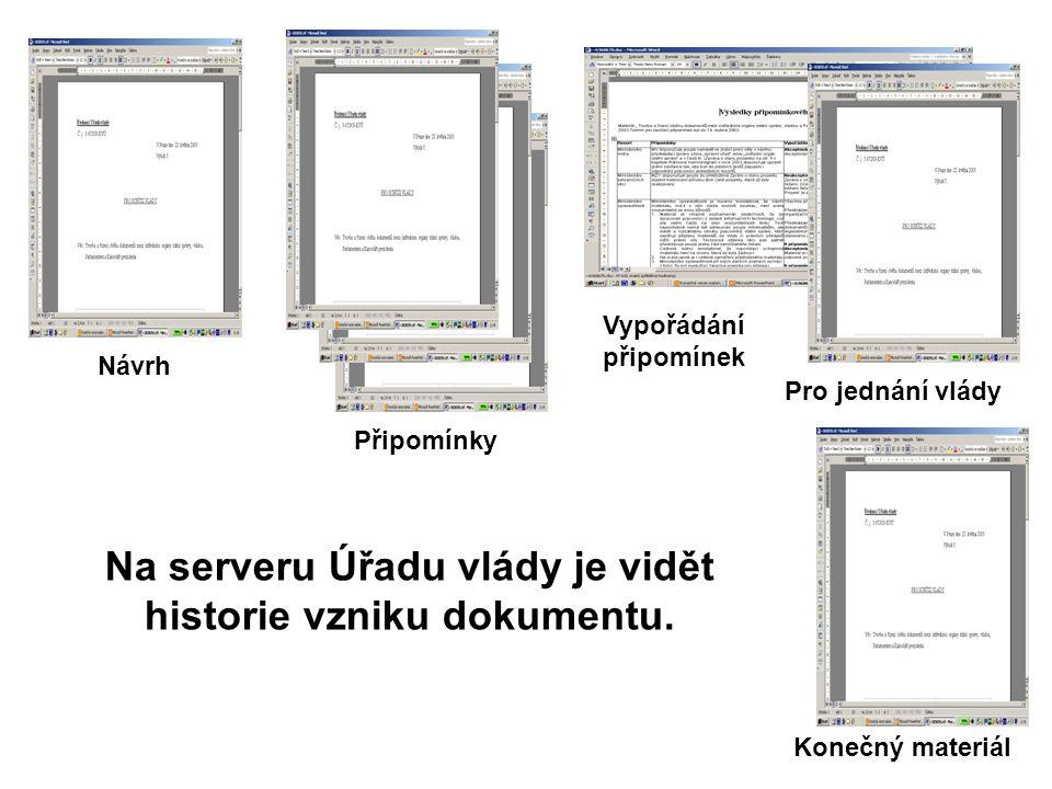 Na serveru Úřadu vlády je vidět historie vzniku dokumentu.