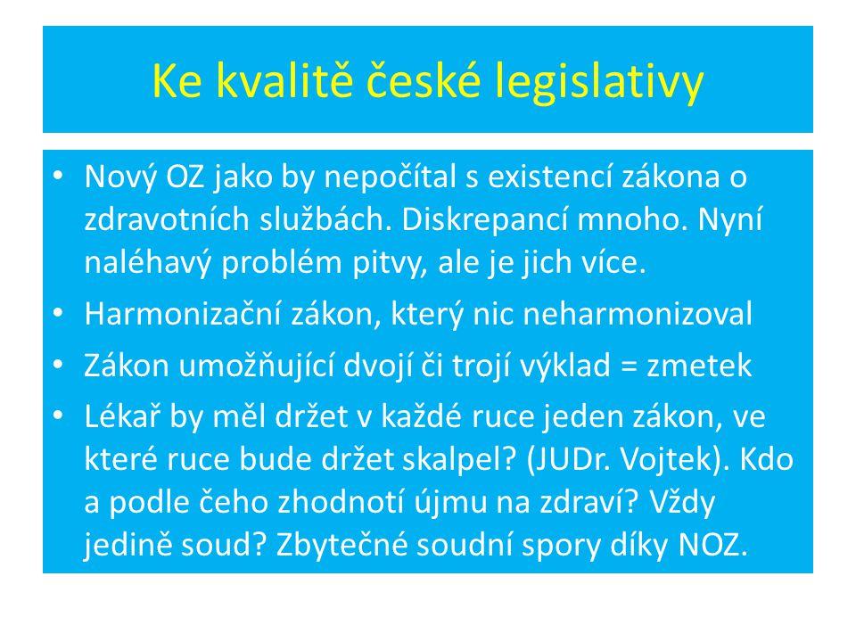 Ke kvalitě české legislativy • Nový OZ jako by nepočítal s existencí zákona o zdravotních službách. Diskrepancí mnoho. Nyní naléhavý problém pitvy, al