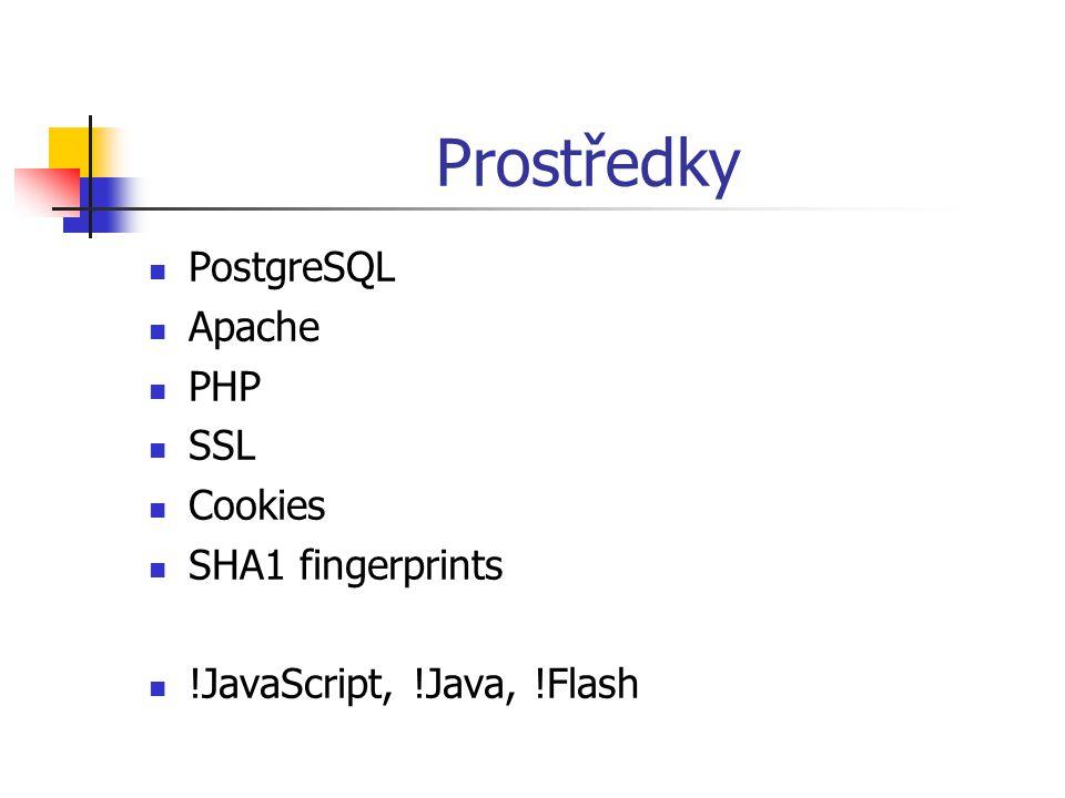 Prostředky  PostgreSQL  Apache  PHP  SSL  Cookies  SHA1 fingerprints  !JavaScript, !Java, !Flash