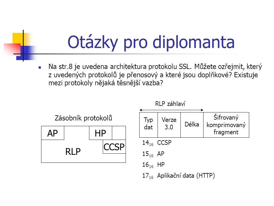 Otázky pro diplomanta  Na str.8 je uvedena architektura protokolu SSL. Můžete ozřejmit, který z uvedených protokolů je přenosový a které jsou doplňko