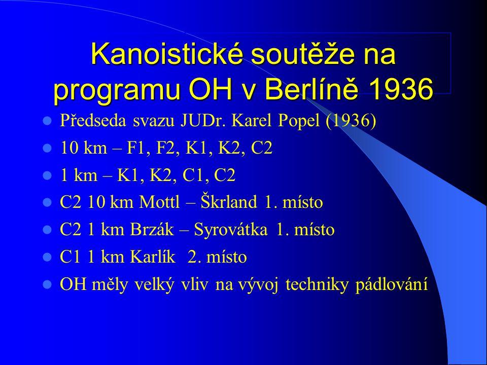1.MS Waxholm 1938  Stejné soutěže jako v Berlíně, přibylo K1, K2 ženy.