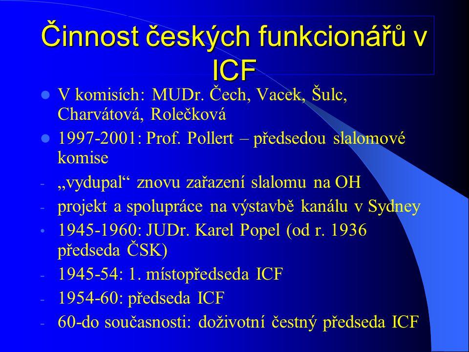 K úspěchům české kanoistiky patří i pověření pořádat MS a ME – úspěšně:  Rychlostní kanoistika + maraton 1938 – 1.