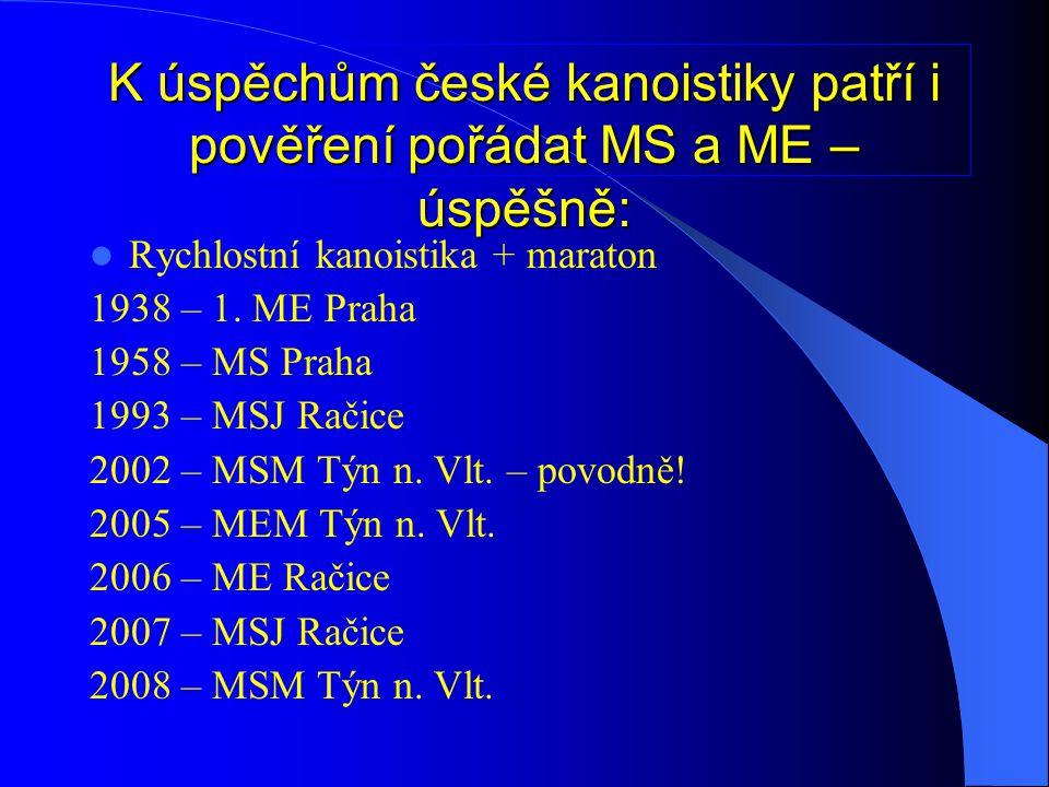  Vodní slalom + sjezd 1967 MS Lipno/ Špindlerův Mlýn 1996 MSJ 1998 ME Roudnice 2006 MS Trója/ Karlovy Vary 2008 MSJ Roudnice