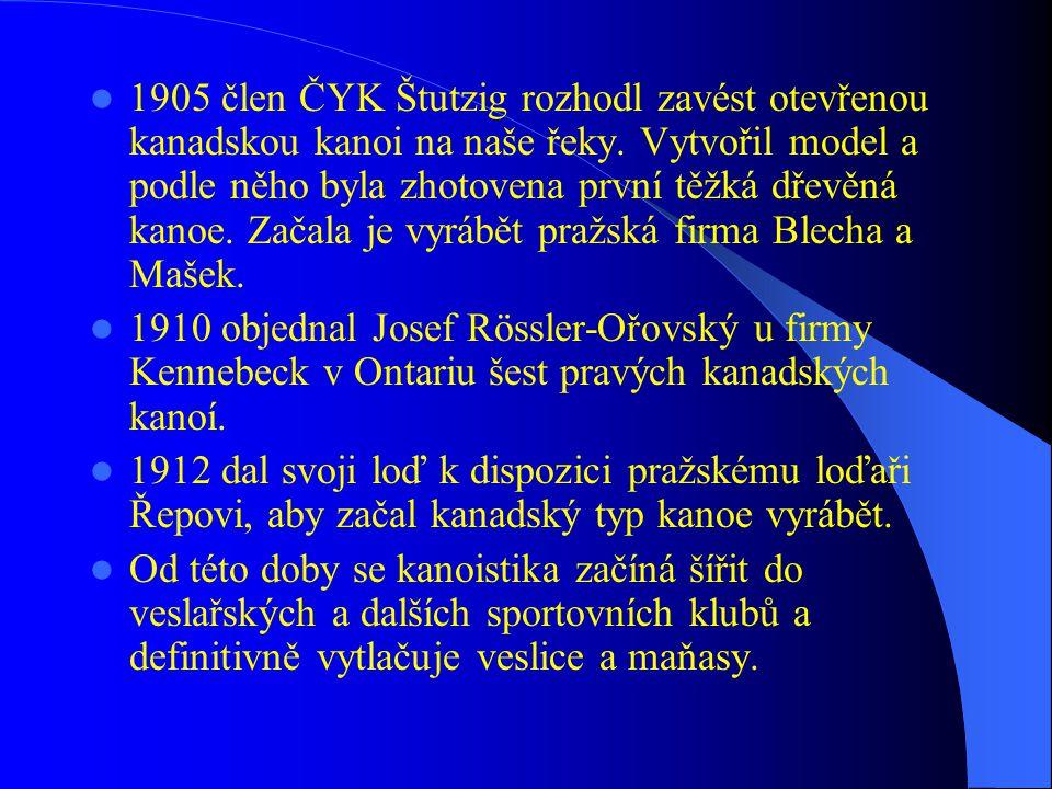  1888 založení Klubu českých turistů, jehož odbory po roce 1918 velkou měrou přispěly k šíření vodní turistiky a kanoistiky a jeho členové stáli později i u zrodu vodního slalomu.