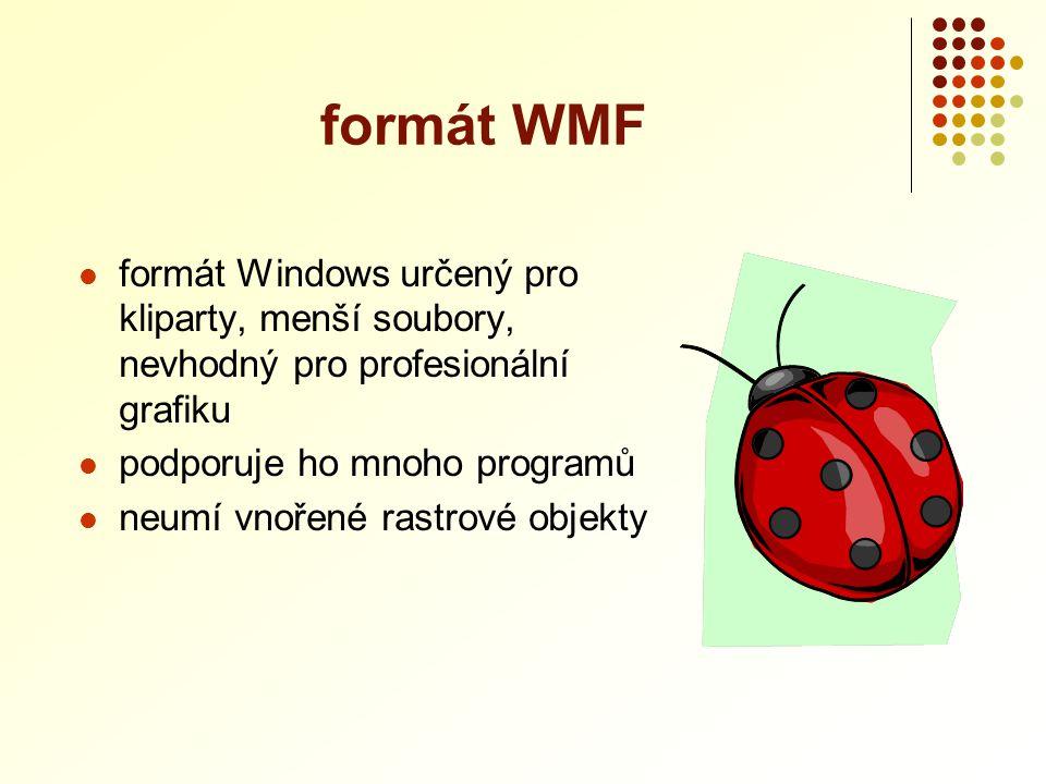  formát Windows určený pro kliparty, menší soubory, nevhodný pro profesionální grafiku  podporuje ho mnoho programů  neumí vnořené rastrové objekty