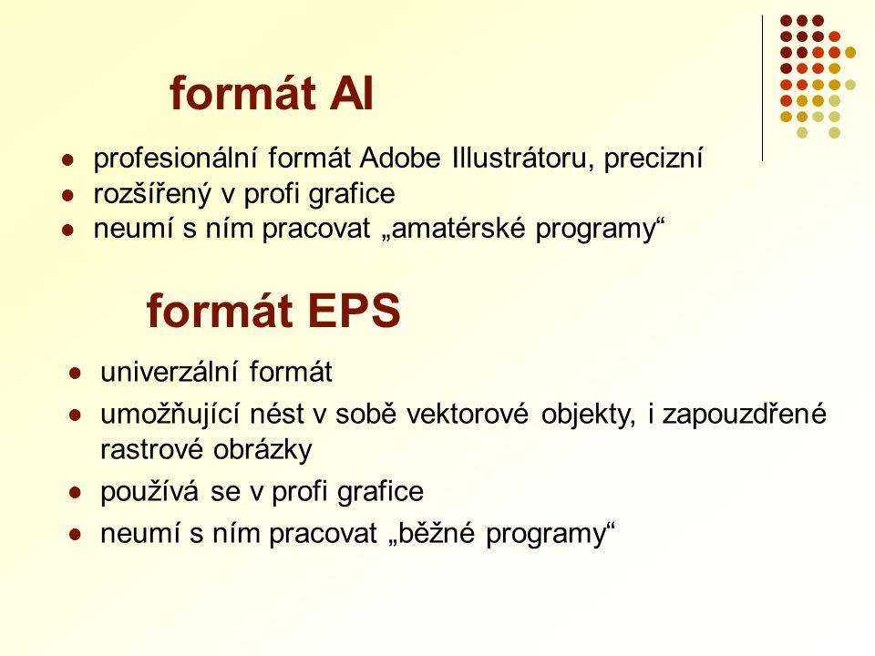 """ profesionální formát Adobe Illustrátoru, precizní  rozšířený v profi grafice  neumí s ním pracovat """"amatérské programy"""" formát AI  univerzální fo"""