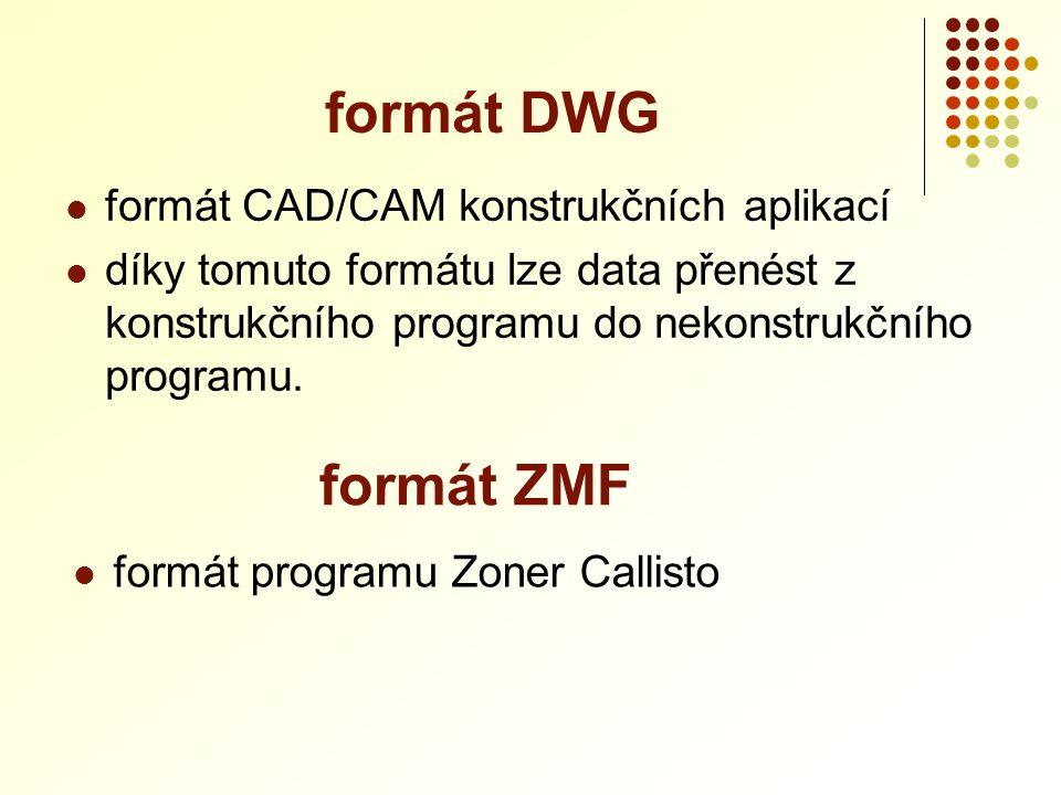  formát CAD/CAM konstrukčních aplikací  díky tomuto formátu lze data přenést z konstrukčního programu do nekonstrukčního programu. formát DWG formát