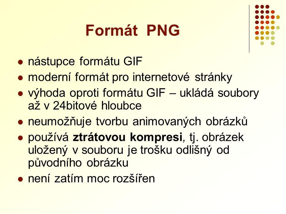  nástupce formátu GIF  moderní formát pro internetové stránky  výhoda oproti formátu GIF – ukládá soubory až v 24bitové hloubce  neumožňuje tvorbu