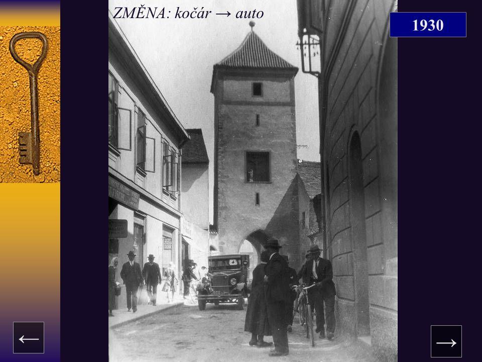 1930 → ← ZMĚNA: kočár → auto