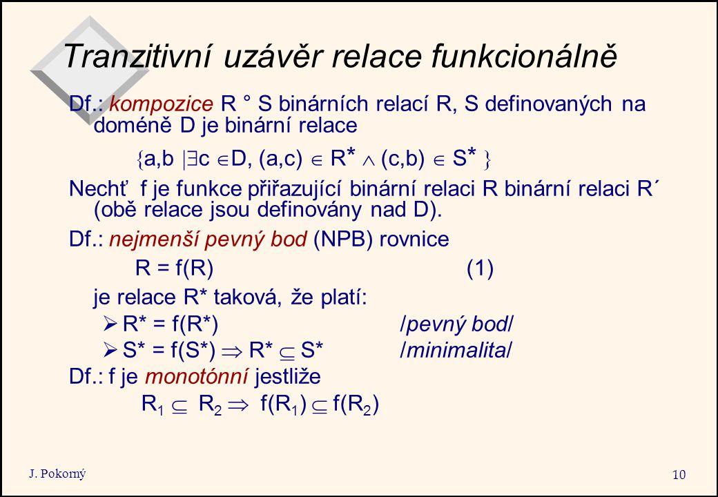 J. Pokorný 10 Tranzitivní uzávěr relace funkcionálně Df.: kompozice R ° S binárních relací R, S definovaných na doméně D je binární relace  a,b  c