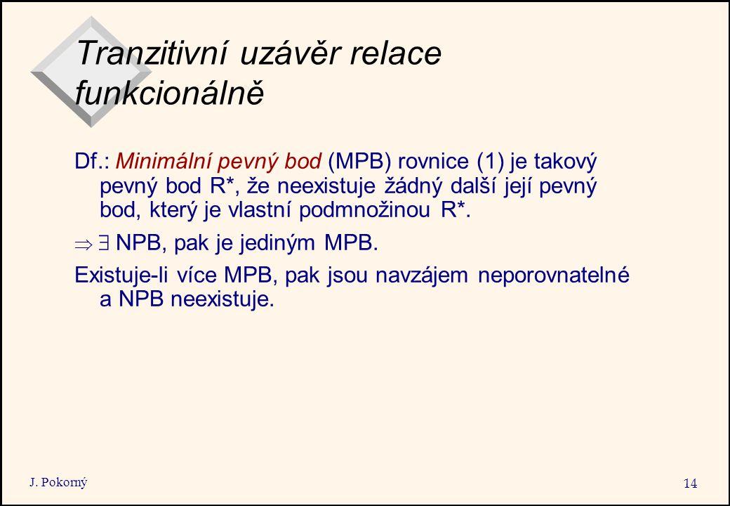 J. Pokorný 14 Tranzitivní uzávěr relace funkcionálně Df.: Minimální pevný bod (MPB) rovnice (1) je takový pevný bod R*, že neexistuje žádný další její