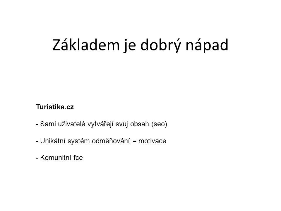 Turistika.cz - Sami uživatelé vytvářejí svůj obsah (seo) - Unikátní systém odměňování = motivace - Komunitní fce