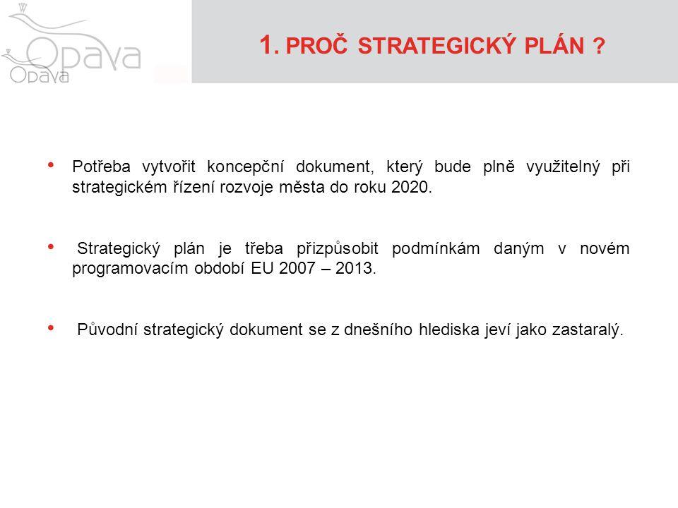 1. PROČ STRATEGICKÝ PLÁN ? • Potřeba vytvořit koncepční dokument, který bude plně využitelný při strategickém řízení rozvoje města do roku 2020. • Str