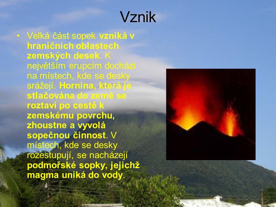 Vznik •Velká část sopek vzniká v hraničních oblastech zemských desek.