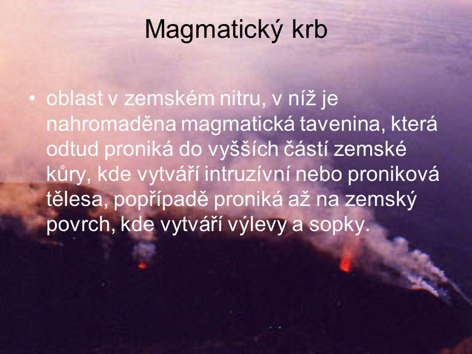 Magmatický krb •oblast v zemském nitru, v níž je nahromaděna magmatická tavenina, která odtud proniká do vyšších částí zemské kůry, kde vytváří intruzívní nebo proniková tělesa, popřípadě proniká až na zemský povrch, kde vytváří výlevy a sopky.