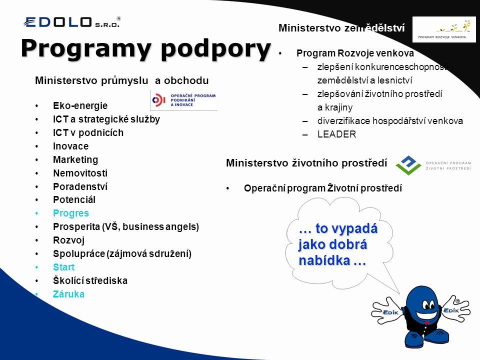 Programy podpory Ministerstvo průmyslu a obchodu •Eko-energie •ICT a strategické služby •ICT v podnicích •Inovace •Marketing •Nemovitosti •Poradenství