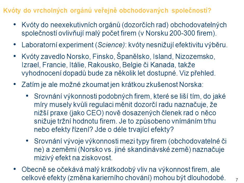 7 Kvóty do vrcholných orgánů veřejně obchodovaných společností? • Kvóty do neexekutivních orgánů (dozorčích rad) obchodovatelných společností ovlivňuj
