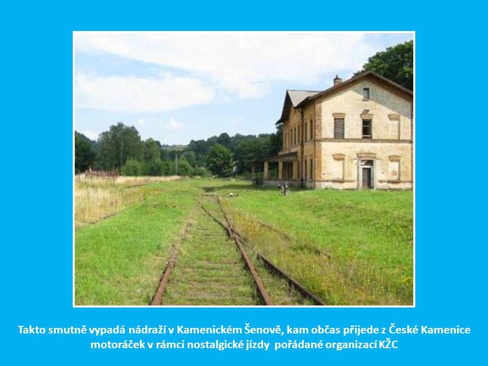 Několik historických obrázků z počátků kamenickošenovské lokálky 1. Pohled na Kamenický Šenov s nádražím a sklárnou 2. Stavba kamenného mostku u obce