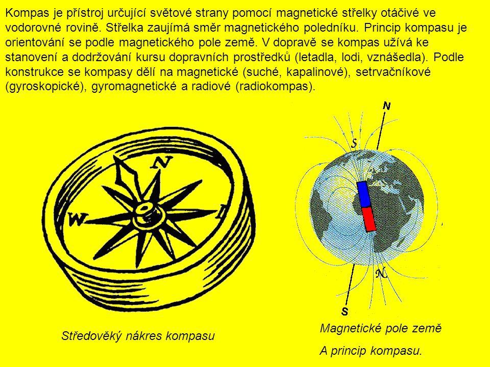 Kompas je přístroj určující světové strany pomocí magnetické střelky otáčivé ve vodorovné rovině. Střelka zaujímá směr magnetického poledníku. Princip