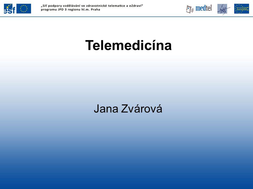 Původní pojetí Telemedicíny •zúžení na pojem dálkového přístupu k datům, dálkového ovládání přístrojů, •v protikladu k současnému pojetí, kdy se jedná o celou množinu přístupů od interaktivního nebo pasivního snímání biofyzikálních dat až k systémům pro koordinovanou spolupráci zpracování dat a podporu nejrůznějších procesů rozhodování v medicíně.