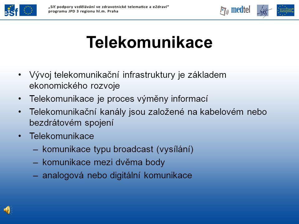 Telekomunikace •Vývoj telekomunikační infrastruktury je základem ekonomického rozvoje •Telekomunikace je proces výměny informací •Telekomunikační kaná