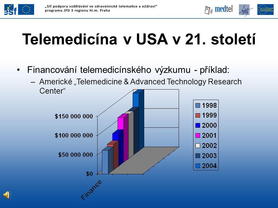 """Telemedicína v USA v 21. století •Financování telemedicínského výzkumu - příklad: –Americké """"Telemedicine & Advanced Technology Research Center"""""""