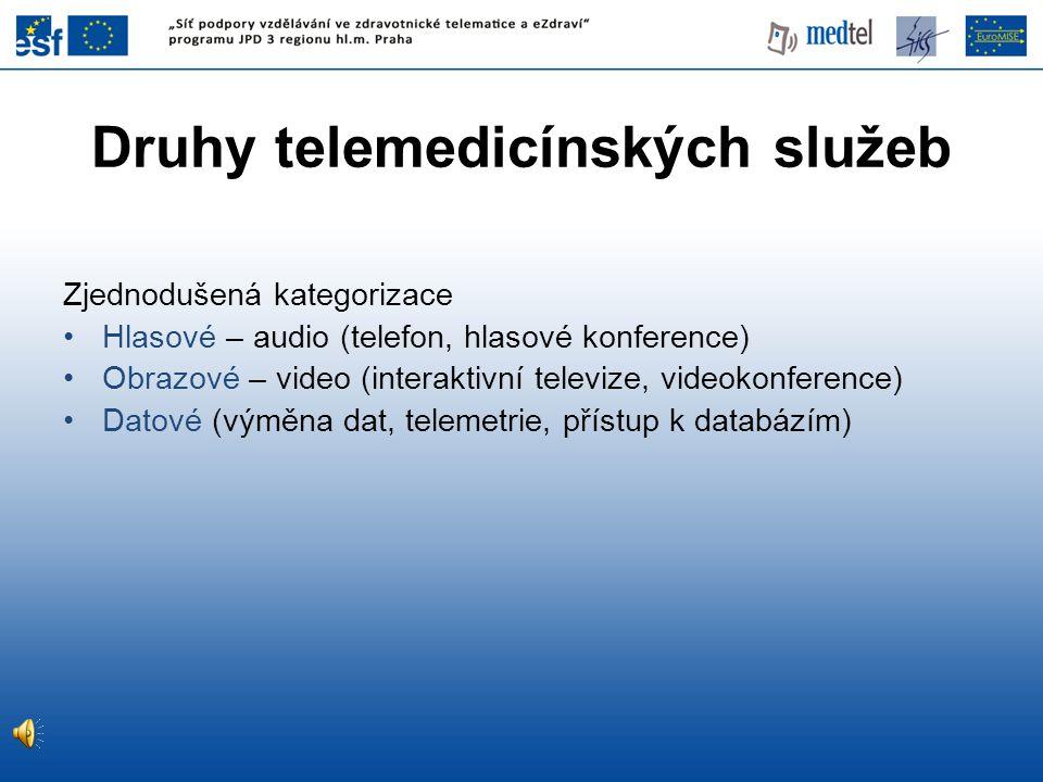 Druhy telemedicínských služeb Zjednodušená kategorizace •Hlasové – audio (telefon, hlasové konference) •Obrazové – video (interaktivní televize, video