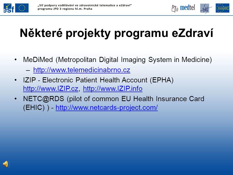 •MeDiMed (Metropolitan Digital Imaging System in Medicine) –http://www.telemedicinabrno.czhttp://www.telemedicinabrno.cz •IZIP - Electronic Patient He