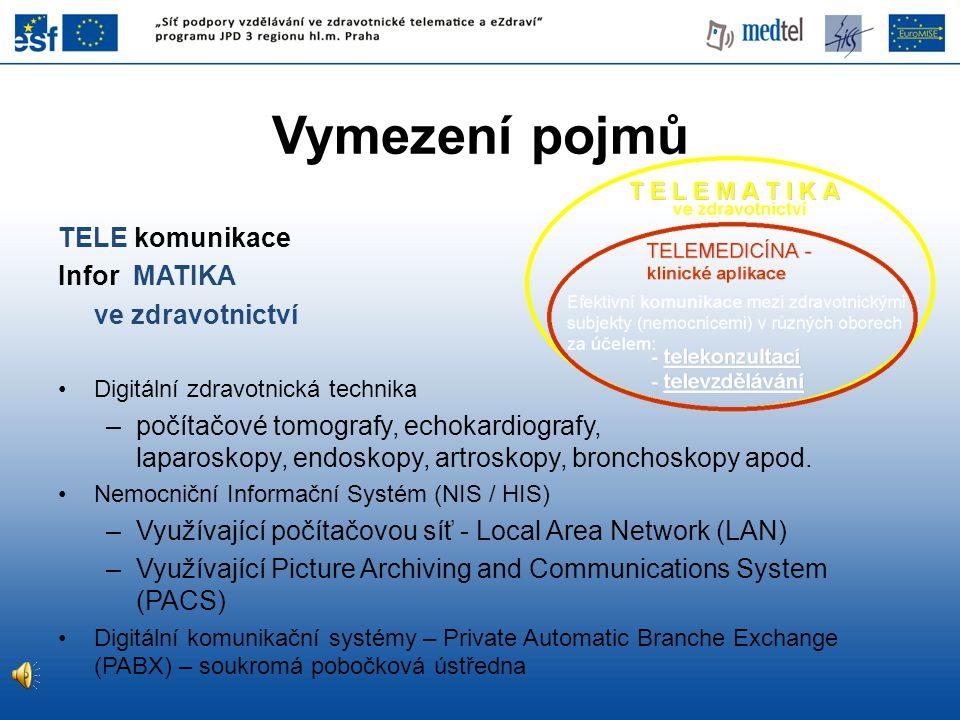 Vymezení pojmů TELE komunikace Infor MATIKA ve zdravotnictví •Digitální zdravotnická technika –počítačové tomografy, echokardiografy, laparoskopy, end
